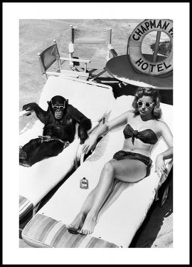 Woman Sunbathing with Chimpanzee Poster