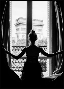 Girl in Paris Window Poster