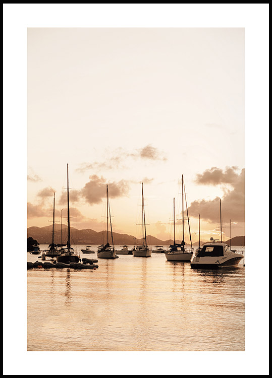 Sailboats at Sunrise Poster